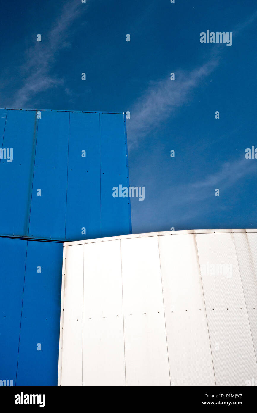 blue and white modern architecture detail - Stock Image