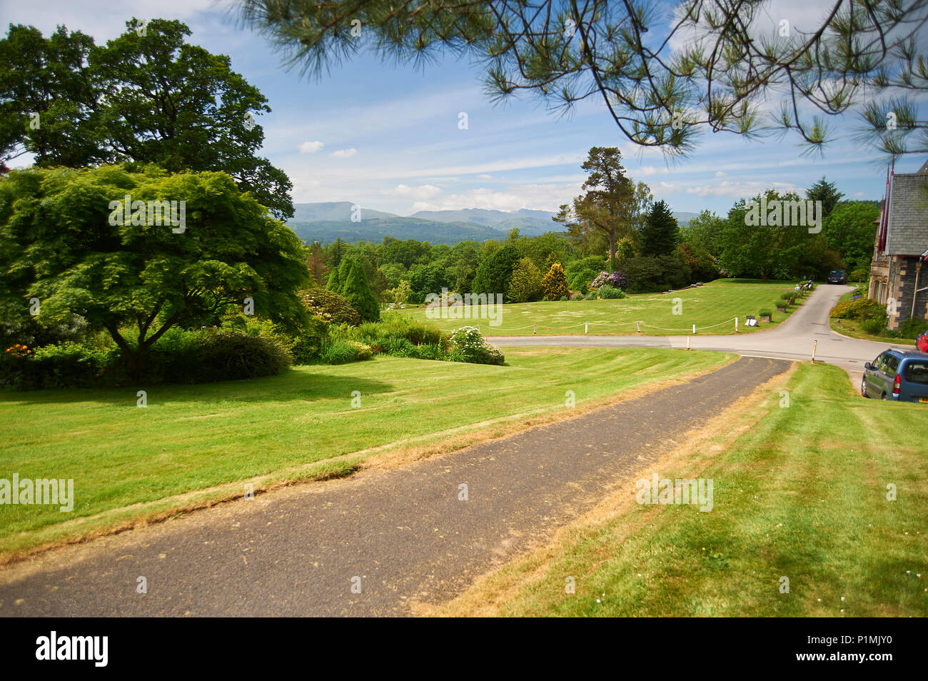 Holehird Gardens is an extensive 10 acre site located near Windermere, Cumbria, England. It is the home of the Lakeland Horticultural Society - Stock Image