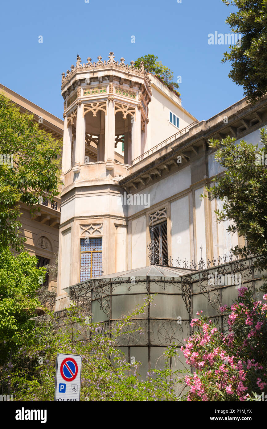 Italy Sicily Palermo typical period building ornate tower turret mosaic design grape vine vines windowless glass conservatory roof terrace Stock Photo