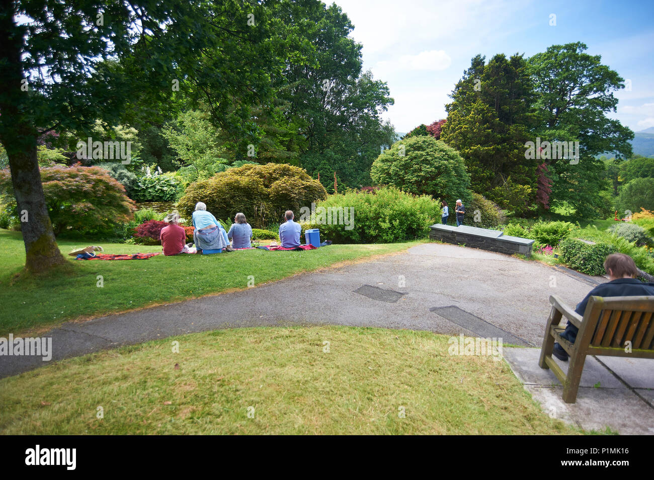 A group of people enjoying a picnic at Holehird gardens, Windermere, Cumbria, England. It is the home of the Lakeland Horticultural Society - Stock Image