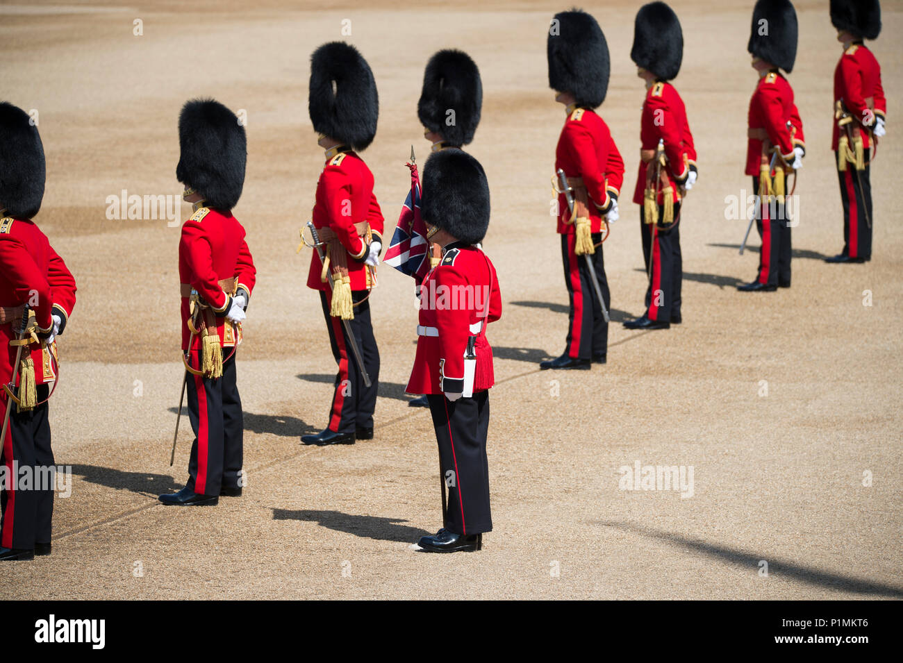 9 June 2018, London, UK. Trooping the Colour ceremony in Horse Guards Parade, The Queens Birthday Parade. Credit: Malcolm Park/Alamy Stock Photo