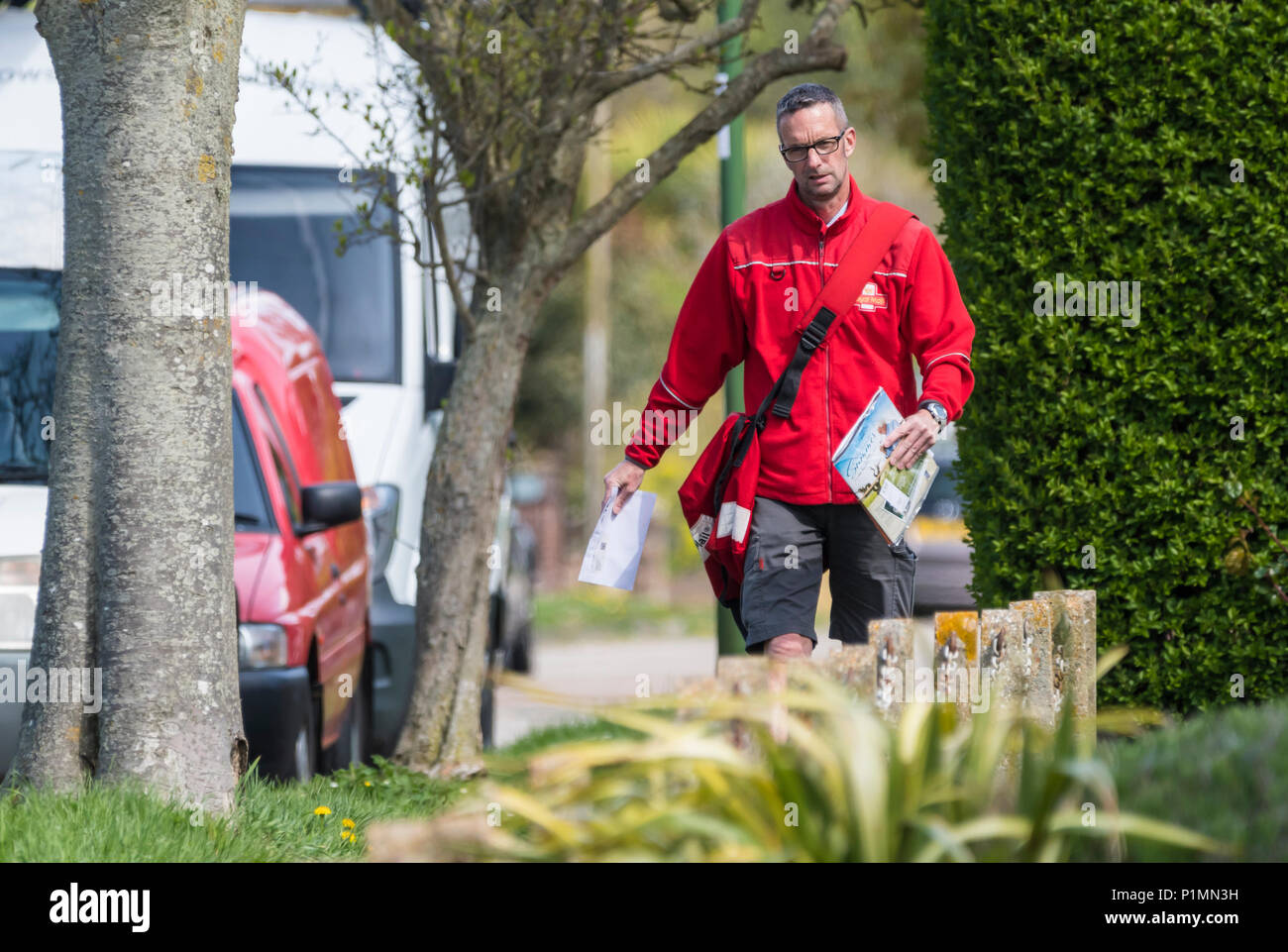 Royal Mail Postman walking carrying letters for delivery in England, UK. - Stock Image