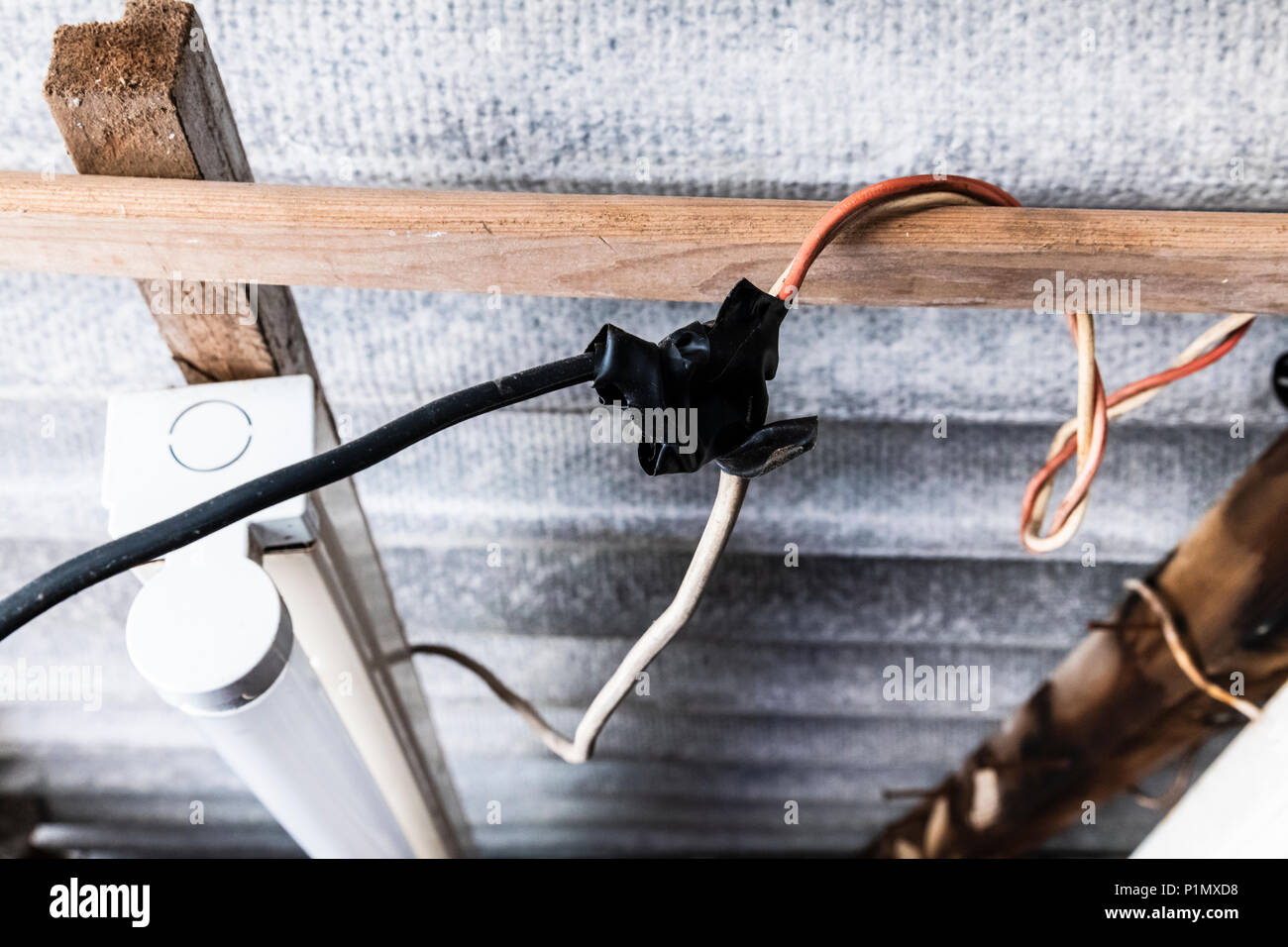 Diy Shed Stock Photos Images Alamy Electricity To A Electrical Projects Backyard Wiring Dangerous Electric In An Old Delapidated Image