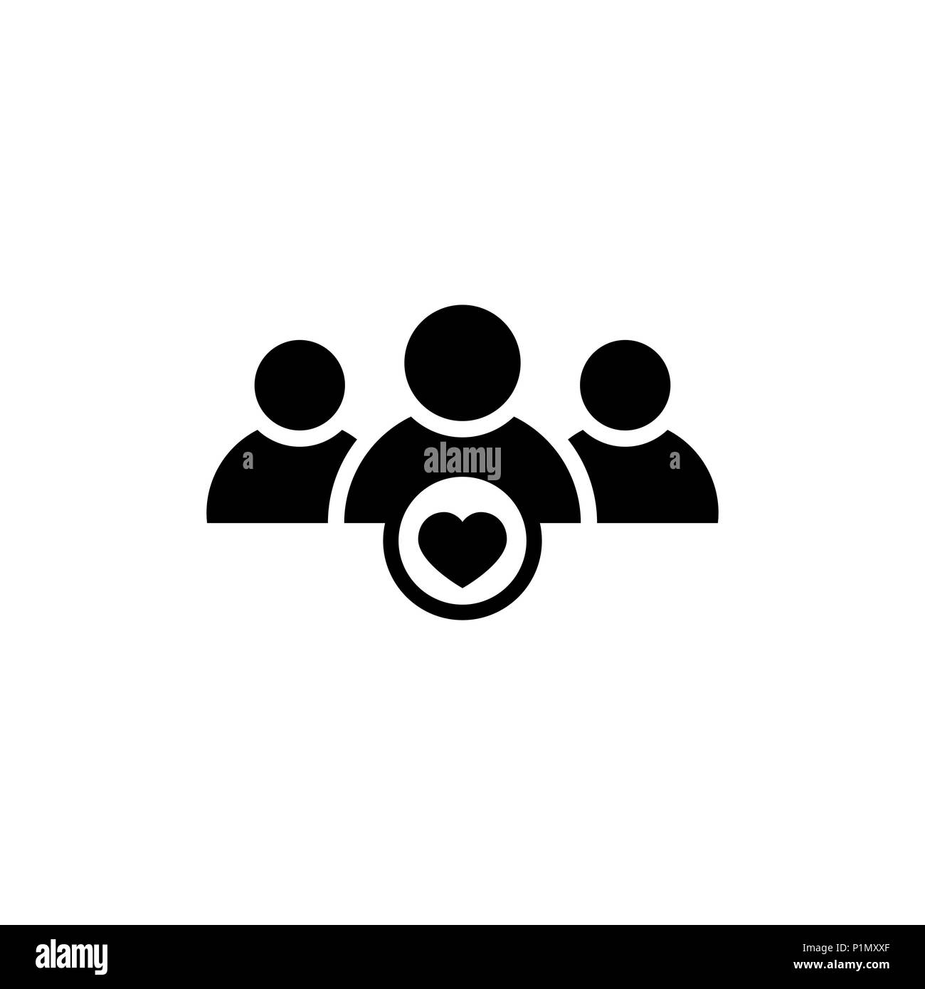 User group icon with heart shape - Stock Image