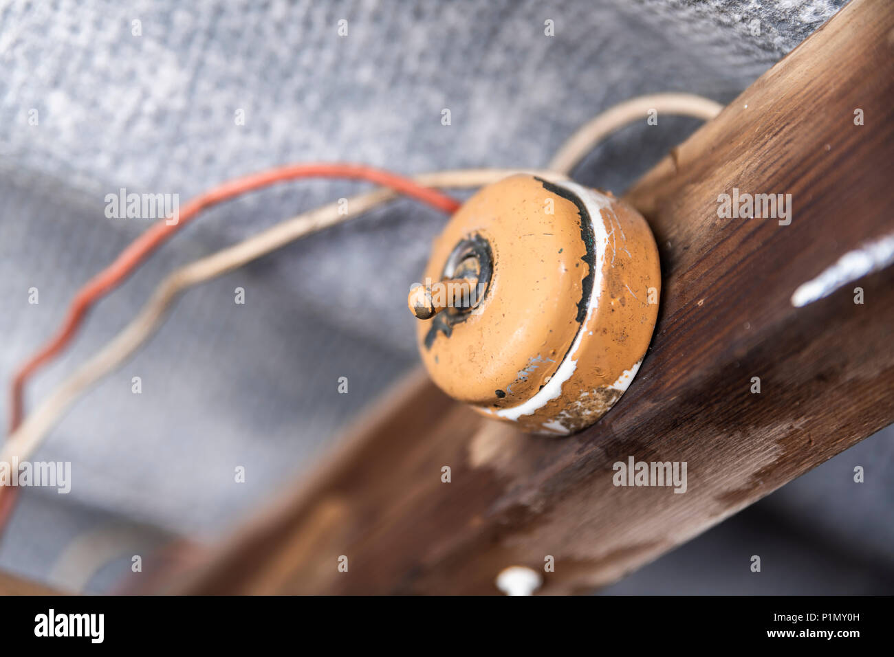 Old Light Switch Stock Photos Images Alamy Wiring To New Inside A Shed With Dangerous And Asbestos Roof Image