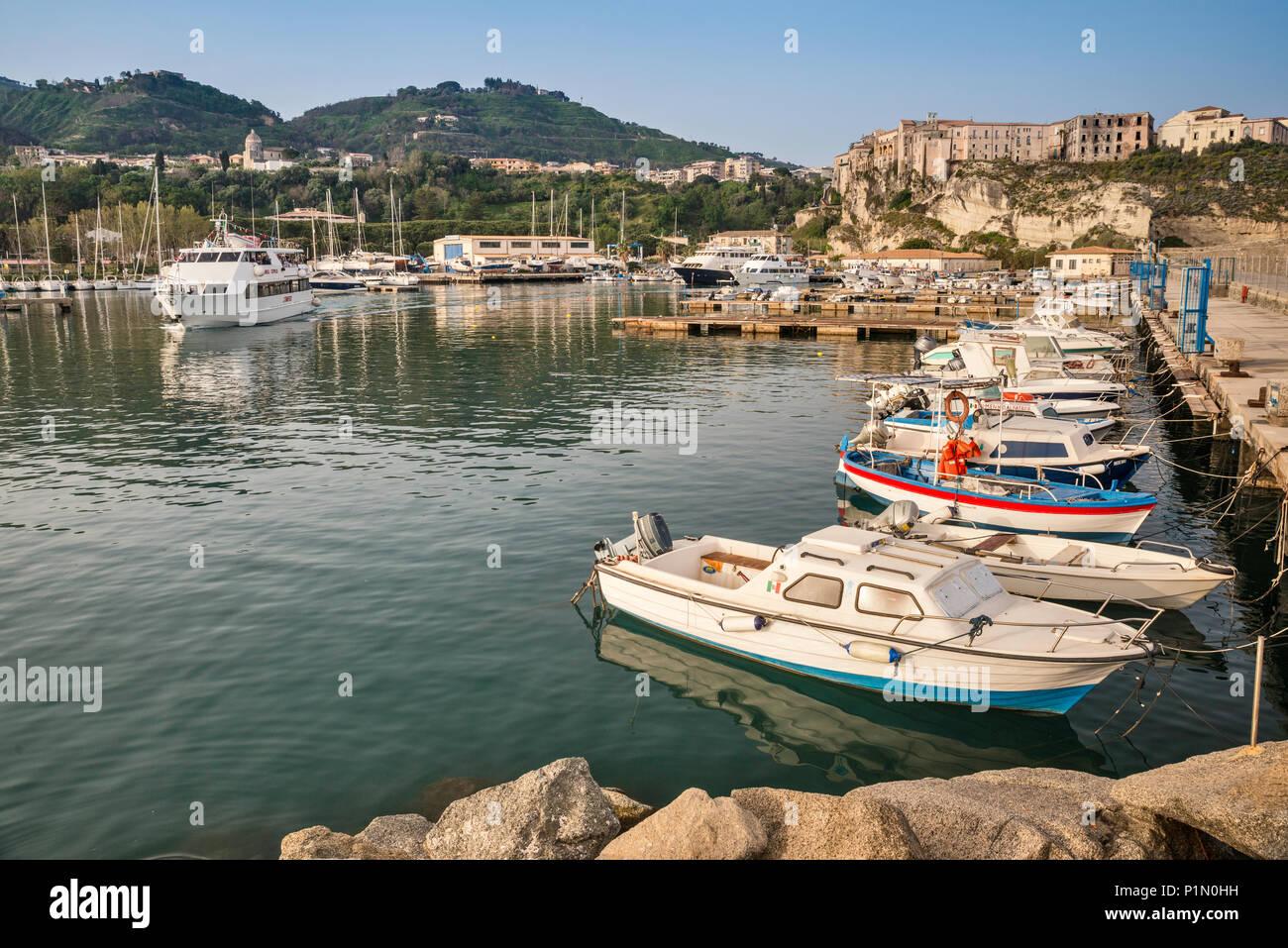 Boats at marina in Tropea, Calabria, Italy - Stock Image