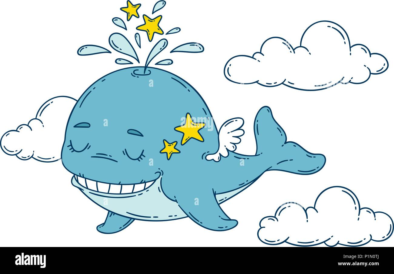 A whale with wings in the sky with stars. Vector illustration isolated on white background. Print for nursery. - Stock Vector