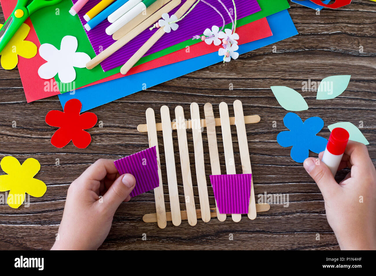 Gift Of Summer Flowers On Wooden Sticks Fence Paper Glue Wooden