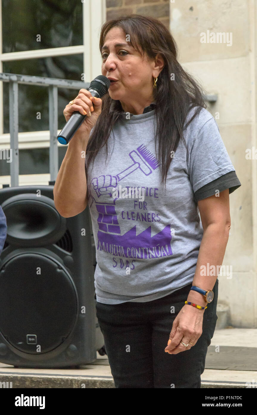 London, UK. 12th June 2018. Consuela, one of the leaders of the cleaners, speaks at a rally on the SOAS steps remembing the cleaners called by SOAS to an 'emergency meeting' at 6:30am on 12th June 2009 after cleaners had campaigned to get the London Living Wage. A few minutes after the start of the meeting, agents of the UK Border Agency rushed in and handcuffed all the cleaners and held them for questioning. Nine were then deported. Credit: Peter Marshall/Alamy Live News - Stock Image
