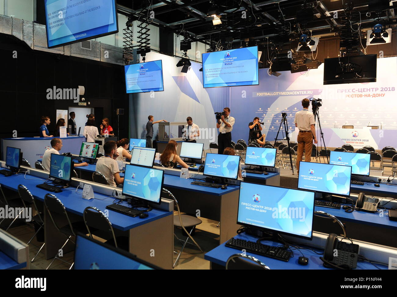 Rostov On Don, Russia. 13th June, 2018. ROSTOV-ON-DON, RUSSIA - JUNE 13, 2018: Journalists seen at the 2018 FIFA World Cup press office. Maxim Romanov/TASS Credit: ITAR-TASS News Agency/Alamy Live News Stock Photo