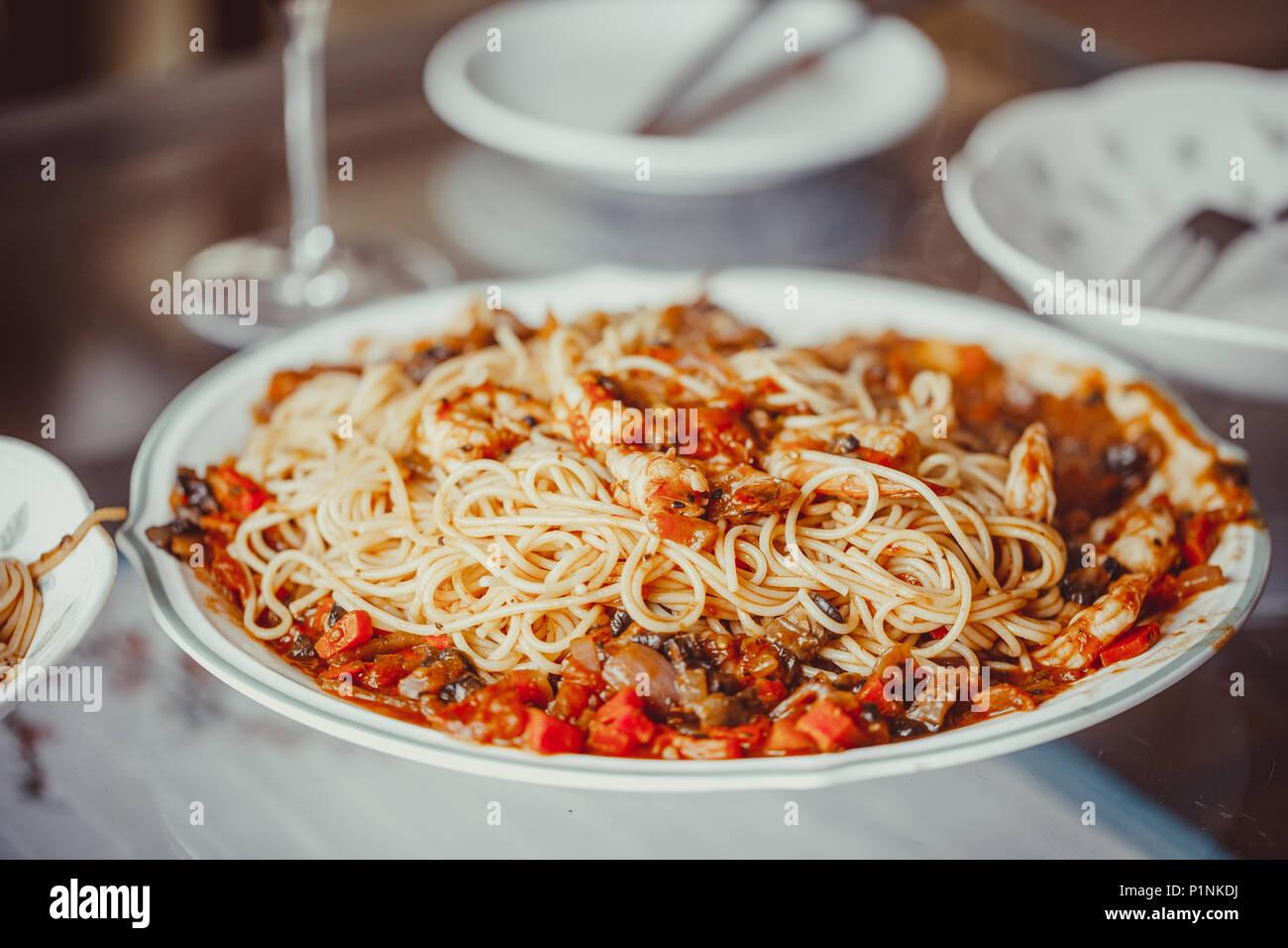 Angel Hair Pasta With Tomato Sauce Garlic And Shrimp Stock Photo