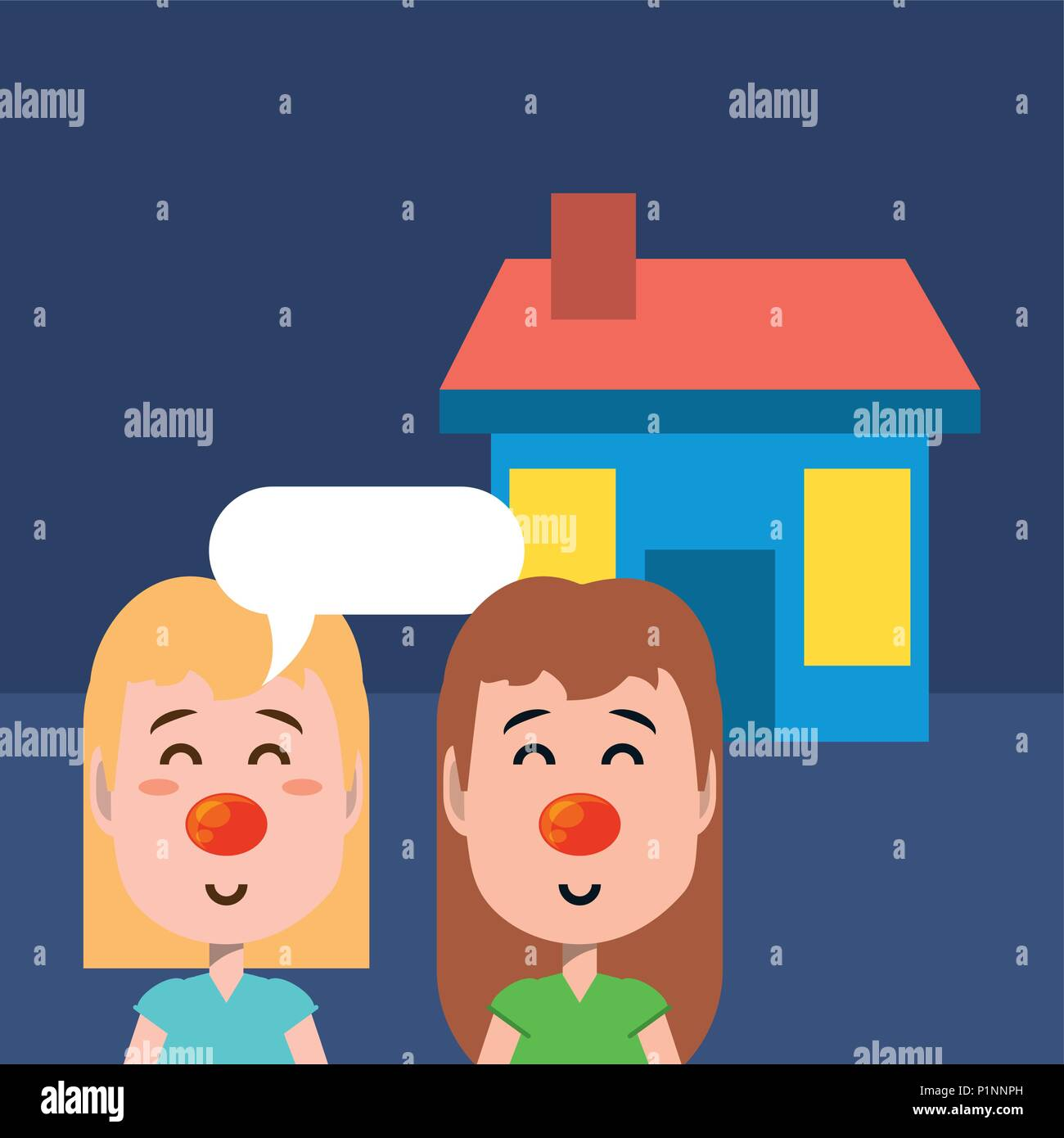 House And Cartoon Girls With Red Noses Over Blue Background