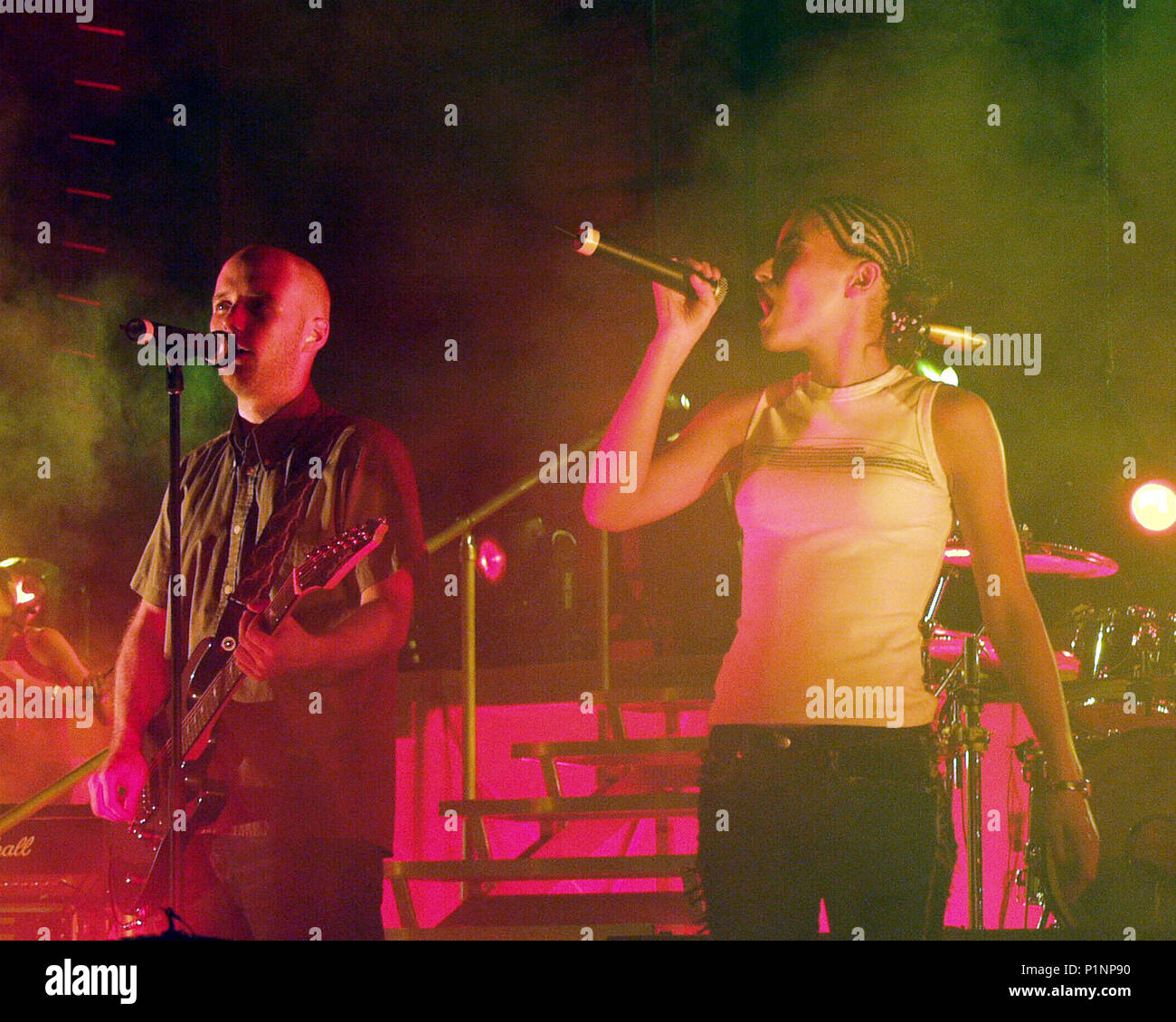 """ATLANTA, GA - July 10: Moby and Nelly Furtado rehearse the song """"South Side"""" the night before the opening date of the AREA : ONE Festival at Lakewood Amphitheatre in Atlanta, Georgia on July 10, 2001. CREDIT: Chris McKay / MediaPunch Stock Photo"""
