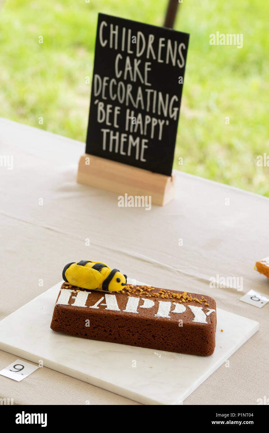 Childrens cake decorating bee happy theme competition at Daylesford Organic farm summer festival. Daylesford, Cotswolds, Gloucestershire, England - Stock Image