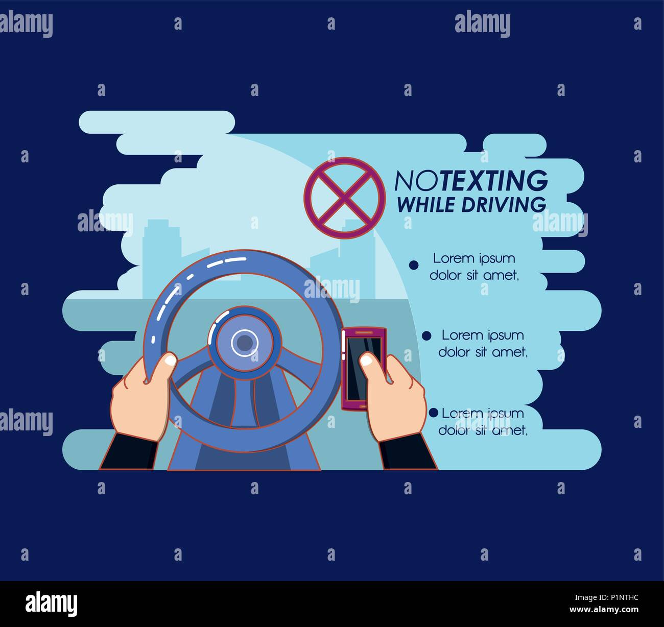 no texting while driving campaign vector illustration design - Stock Vector