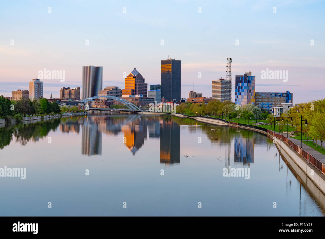 rochester ny may 14 2018 skyline of rochester new york along