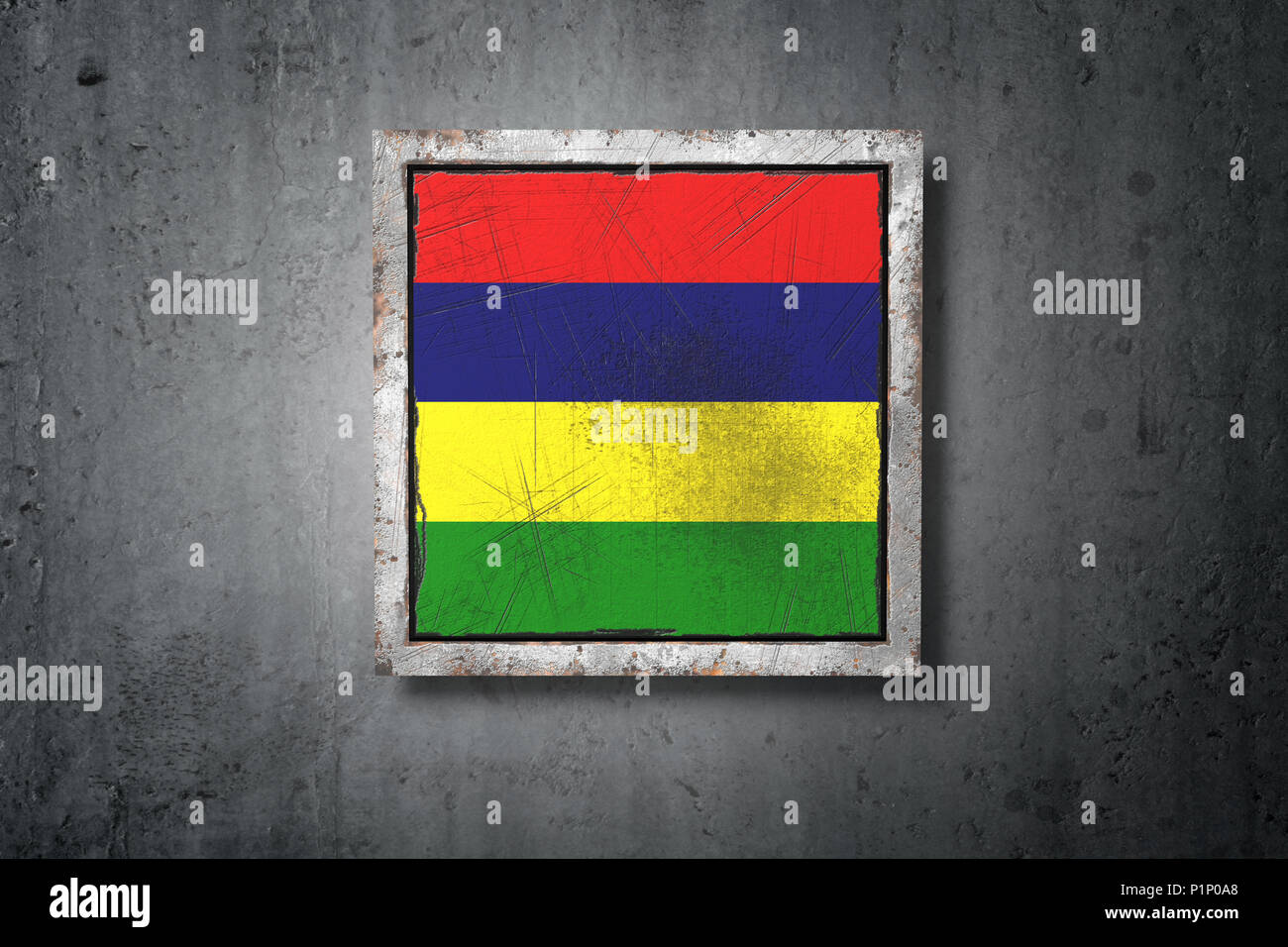 3d rendering of an old Republic of Mauritius flag in a concrete wall - Stock Image