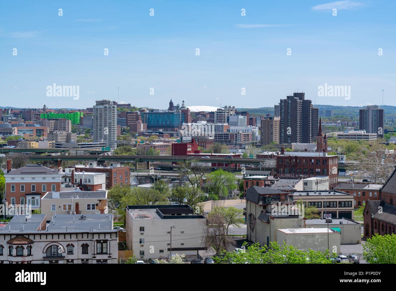 SYRACUSE, NY - MAY 14, 2018:  Daytime skyline of Syracuse, New York - Stock Image