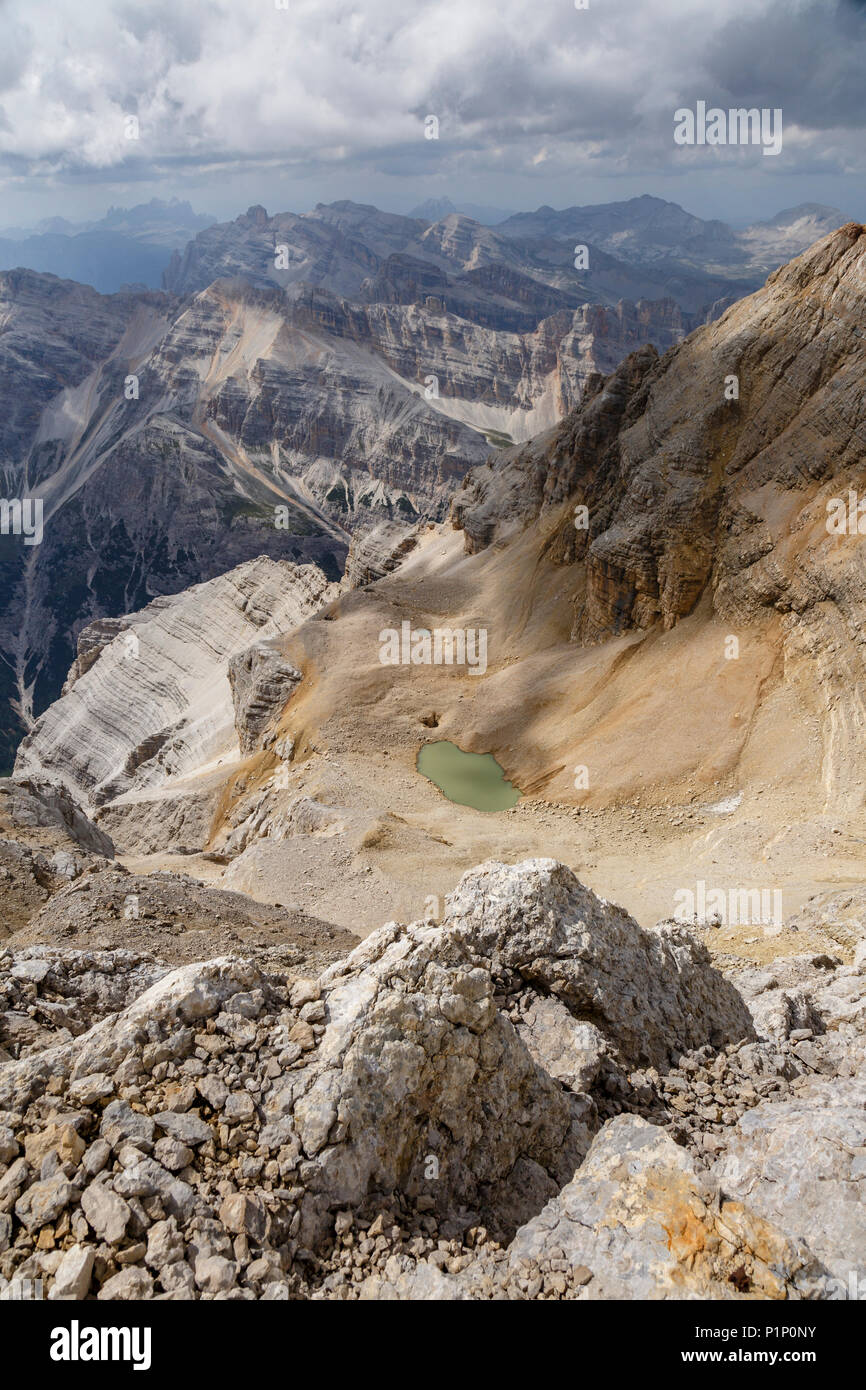 L'Abisso di Tofana from the summit of Mt Tofana, Cortina d'Ampezzo, Italy - Stock Image
