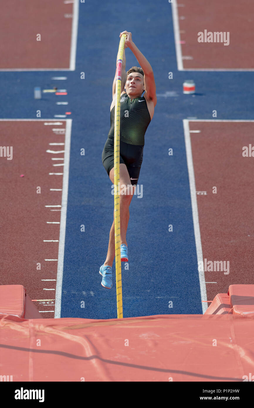 STOCKHOLM, SWEDEN, JUNE 10, 2018: Armand Duplantis (SWE) during the pole vault competition in the Diamond league at  the Olympic arena Stockholm Stadi - Stock Image