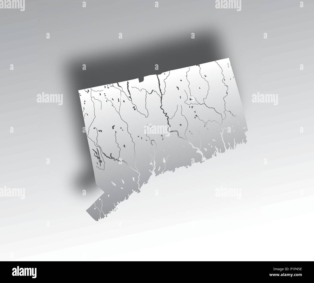U.S. states - map of Connecticut with paper cut effect. Hand made. Rivers and lakes are shown. Please look at my other images of cartographic series - - Stock Image