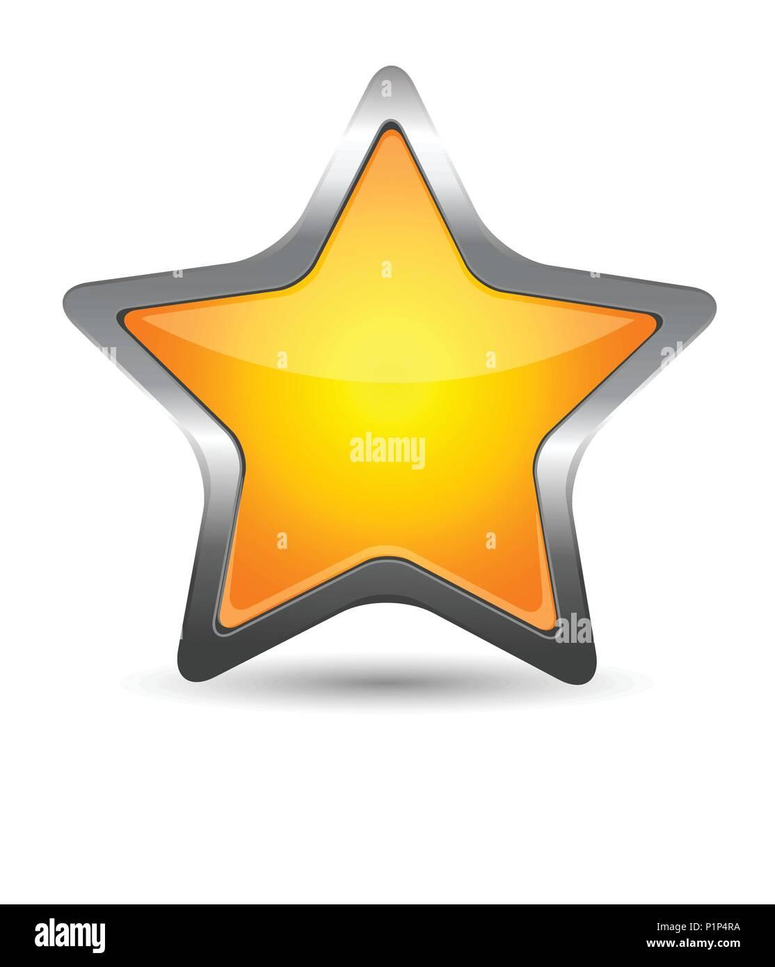 Glass yellow star icon Stock Vector