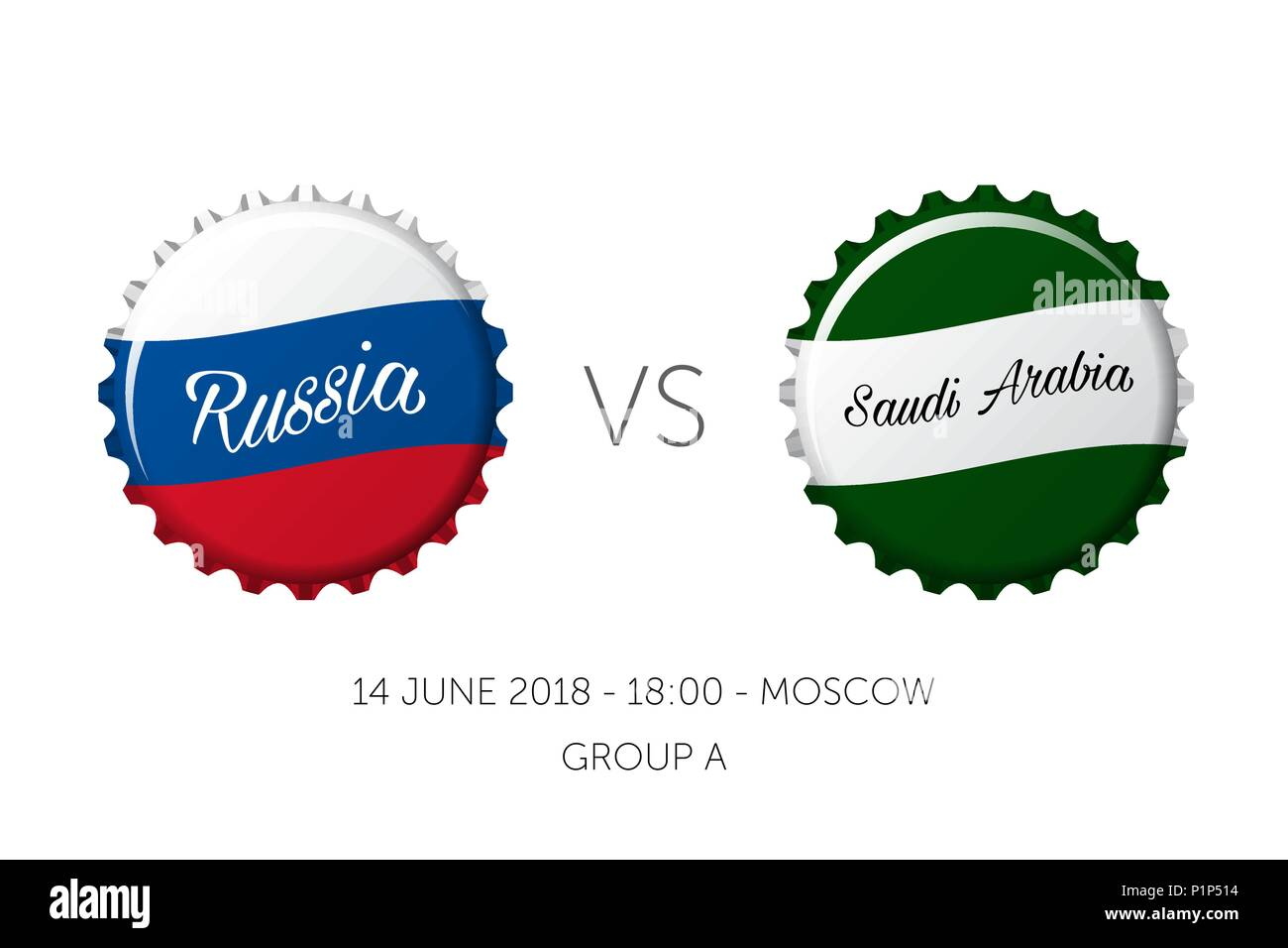 Soccer championship - Russia VS Saudi Arabia - 14 June - Stock Vector