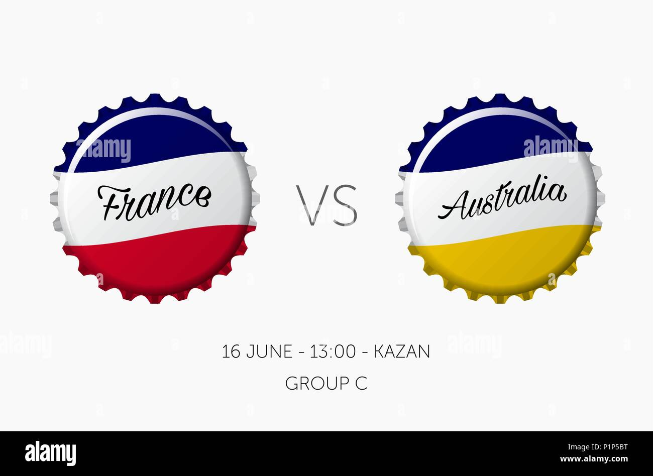 Soccer championship - France VS Australia - 16 June - Stock Vector