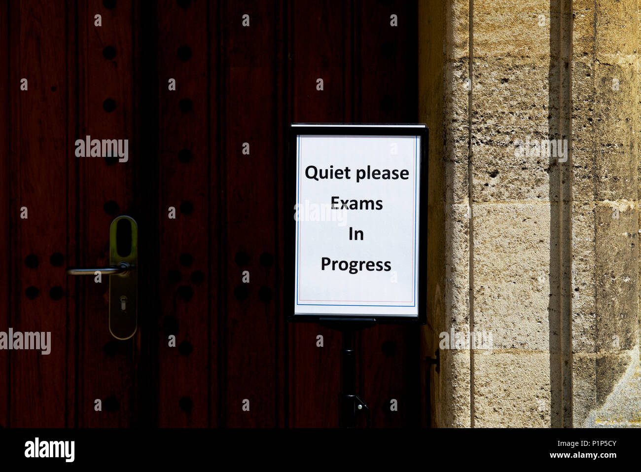 Sign: Quiet please, exams in progress, Uppingham School, Uppingham, Rutland, England UK - Stock Image