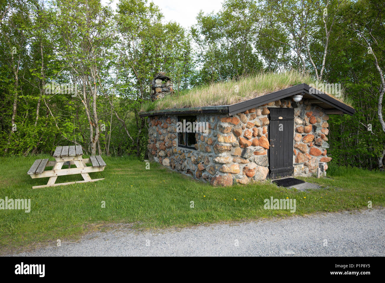 Over-night cabin at Leka camping in Norway Stock Photo