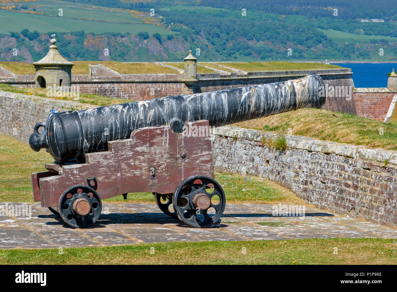 FORT GEORGE ARDERSIER INVERNESS SCOTLAND FORTIFICATIONS CANNON COVERED DEEPLY IN SEAGULL DROPPINGS - Stock Image