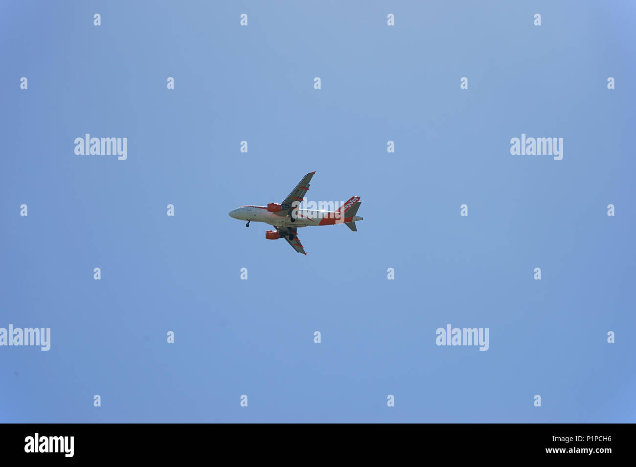 Easyjet Airplane in the sky - Naples, italy Stock Photo