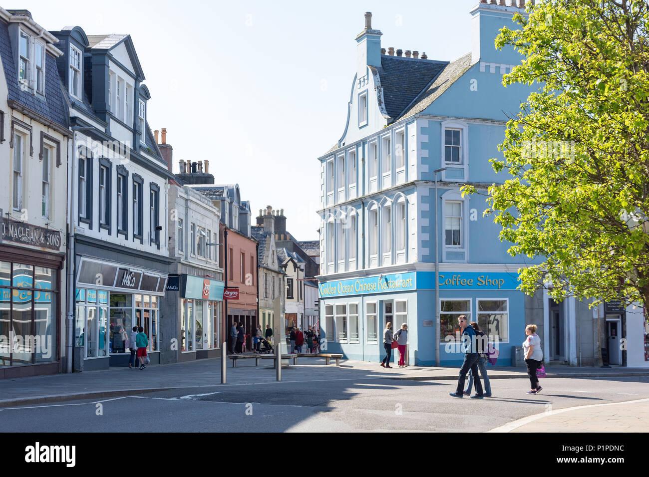 Pedestrianised Cromwell Street, Stornoway, Isle of Lewis, Outer Hebrides, Scotland, United Kingdom - Stock Image