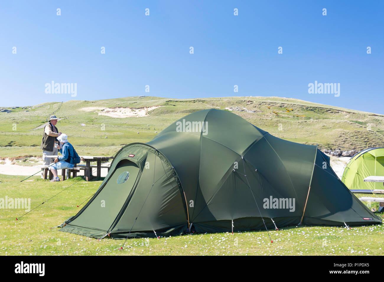 Traigh Horgabost Campsite, Isle of Harris, Outer Hebrides, Na h-Eileanan Siar, Scotland, United Kingdom - Stock Image
