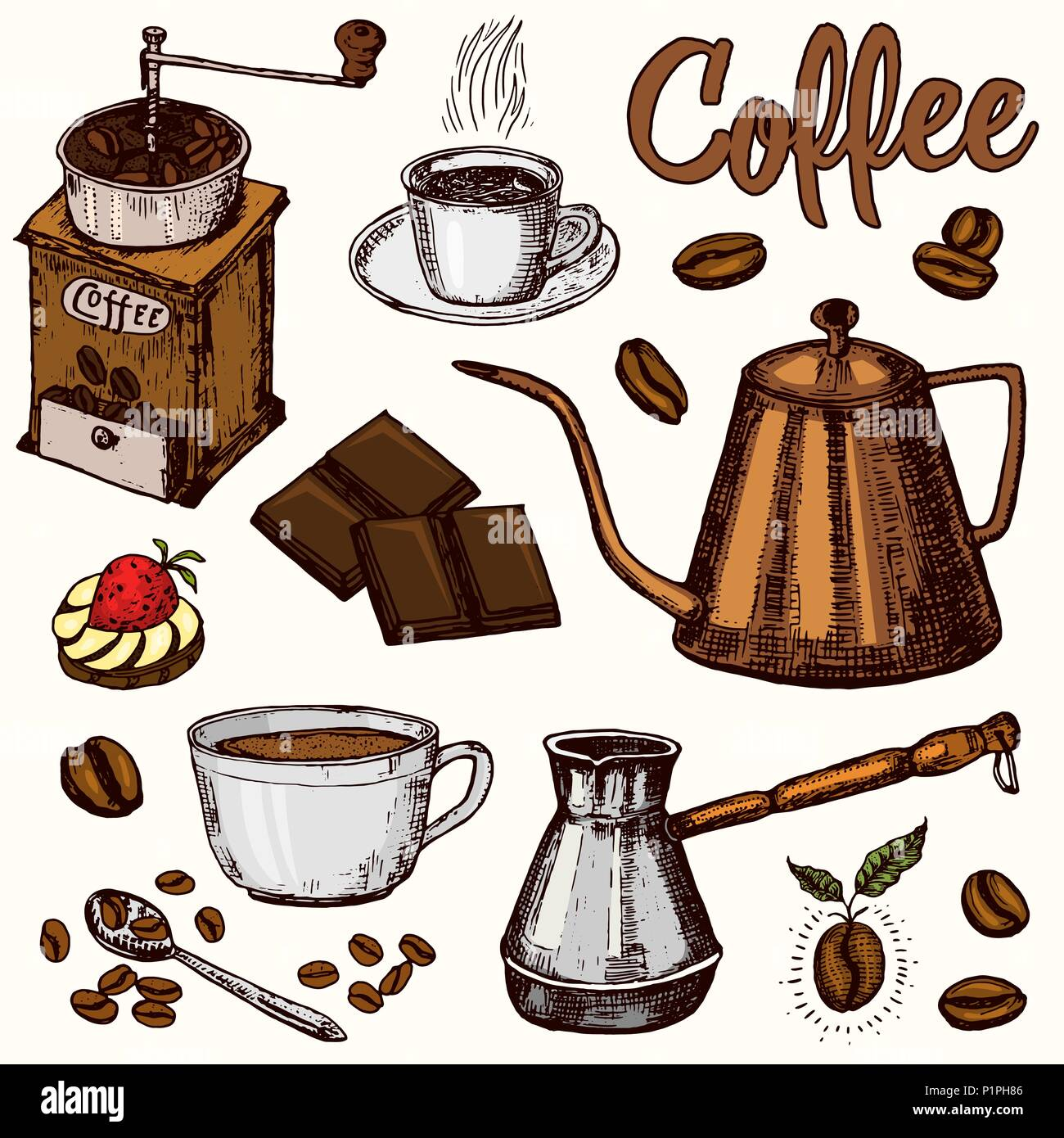 Traditional Filter Coffee Maker Modern Vintage Elements Percolator Plants Grain And Kettle For The Shop Menu Vector Illustration Engraved Hand Drawn In Old Sketch For Card Badges Labels Stock Vector Image