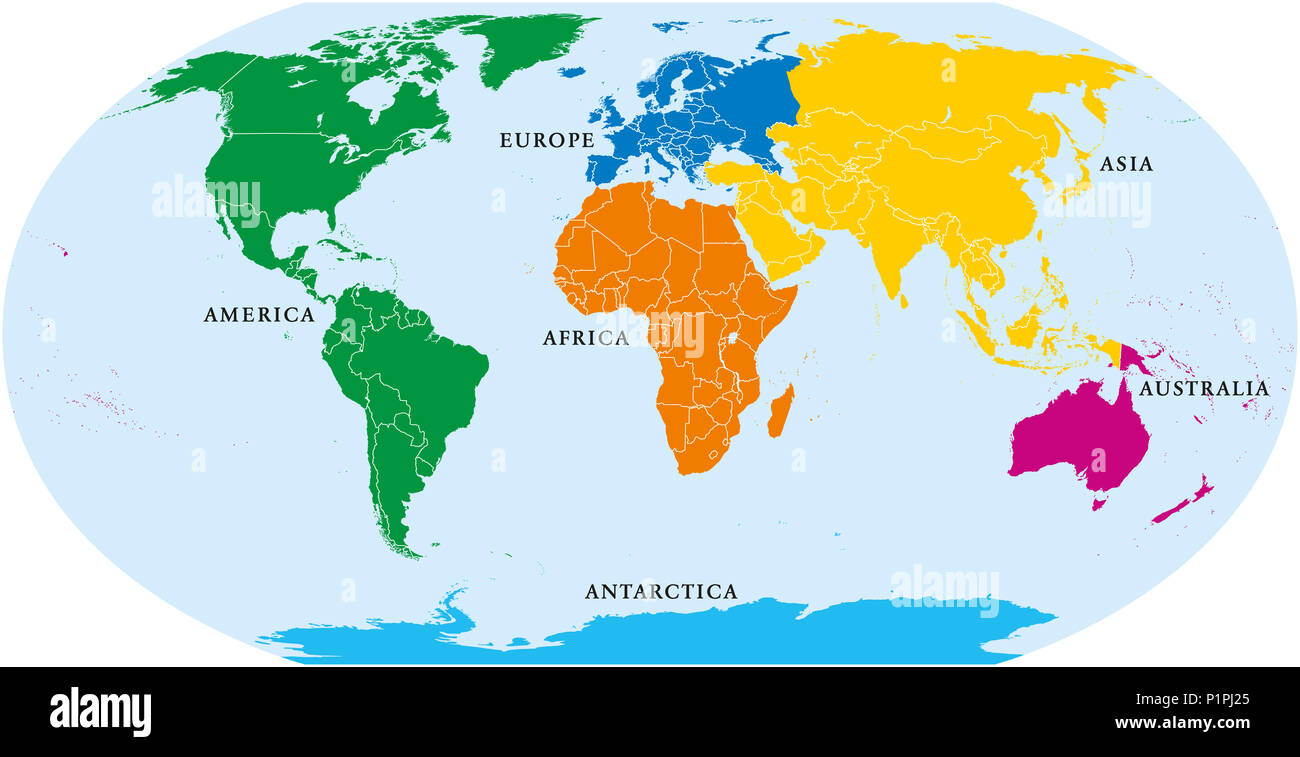 Six continents world political map america africa antarctica six continents world political map america africa antarctica asia australia and europe with shorelines and borders robinson projection gumiabroncs Gallery
