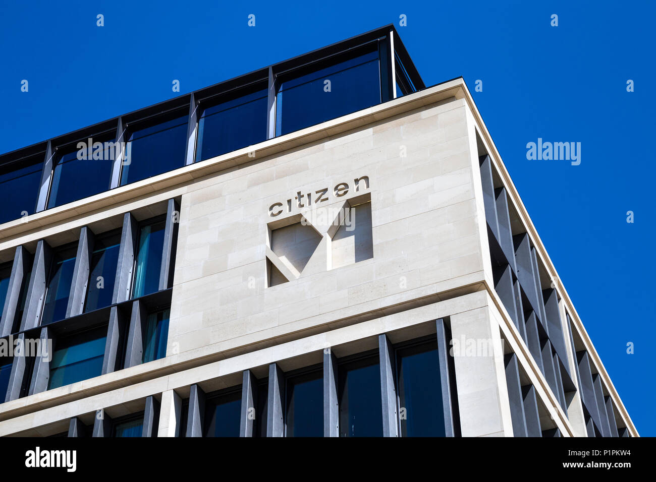 Logo of Dutch hotel chain CitizenM on their building in London, UK - Stock Image