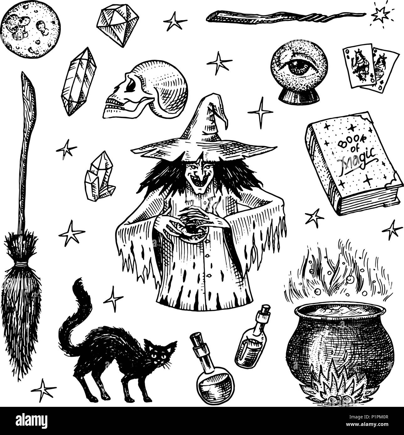 halloween elements. magic ball, witch with book of spells, cursed