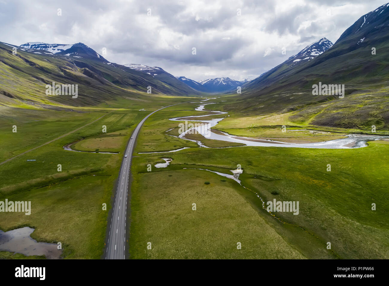 Aerial view of the scenic landscape of Northern Iceland, with Highway 1, the ring road; Iceland - Stock Image