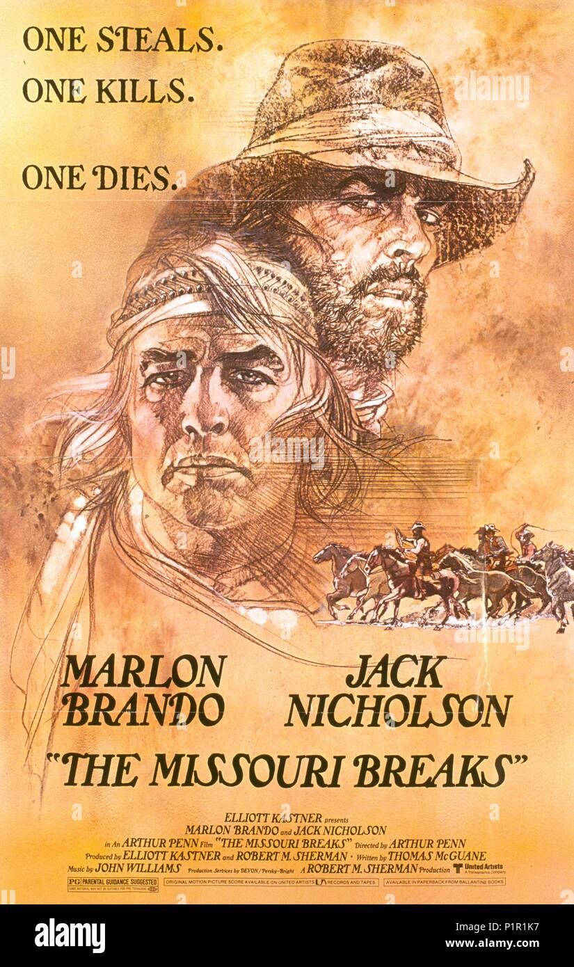 Original Film Title: THE MISSOURI BREAKS.  English Title: THE MISSOURI BREAKS.  Film Director: ARTHUR PENN.  Year: 1976. Credit: UNITED ARTISTS / Album - Stock Image