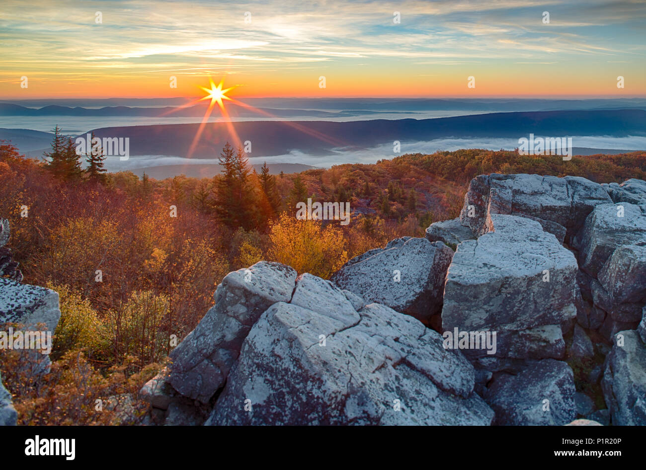 Sunrise on Dolly Sods over the Mountains of West Virginia - Stock Image