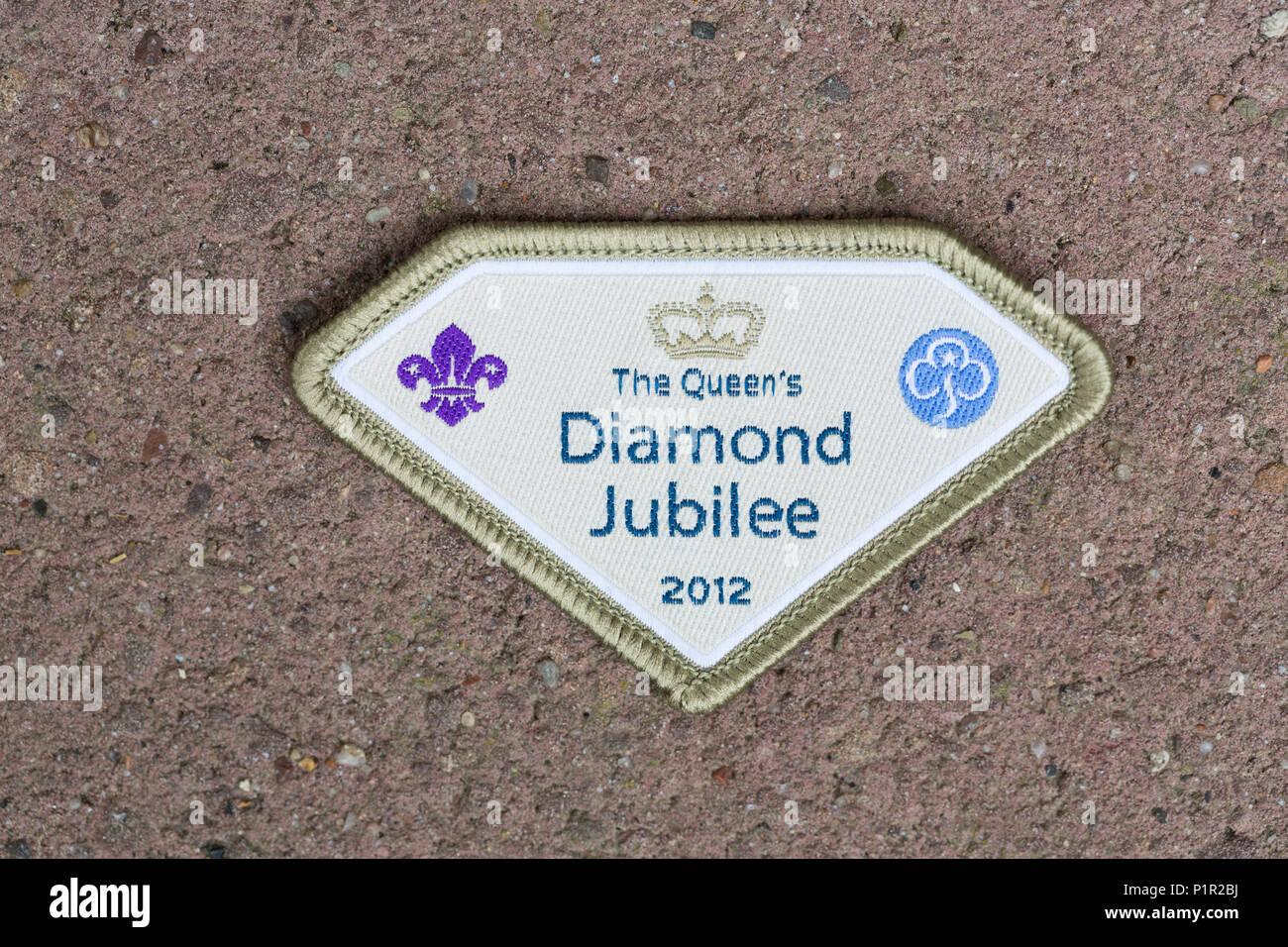 Brownies badge to celebrate Queen's Diamond Jubilee in 2012 - Stock Image