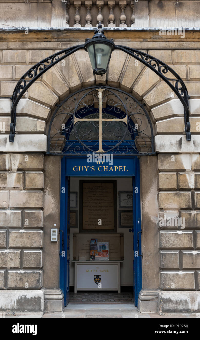 the front door to the chapel or church at Guys hospital teaching hospital in central london. NHS hospital in the centre of the capital city London. - Stock Image