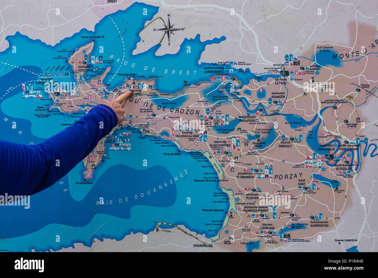 Map Of Northern France Coastline.Crozon Morgat On The Brittany Coast Path In Northern France In Mid