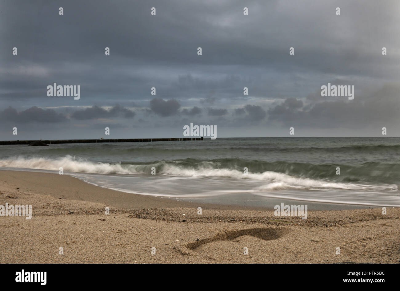 Kuehlungsborn, Germany, View of the Baltic Sea by wind and rainstorm - Stock Image