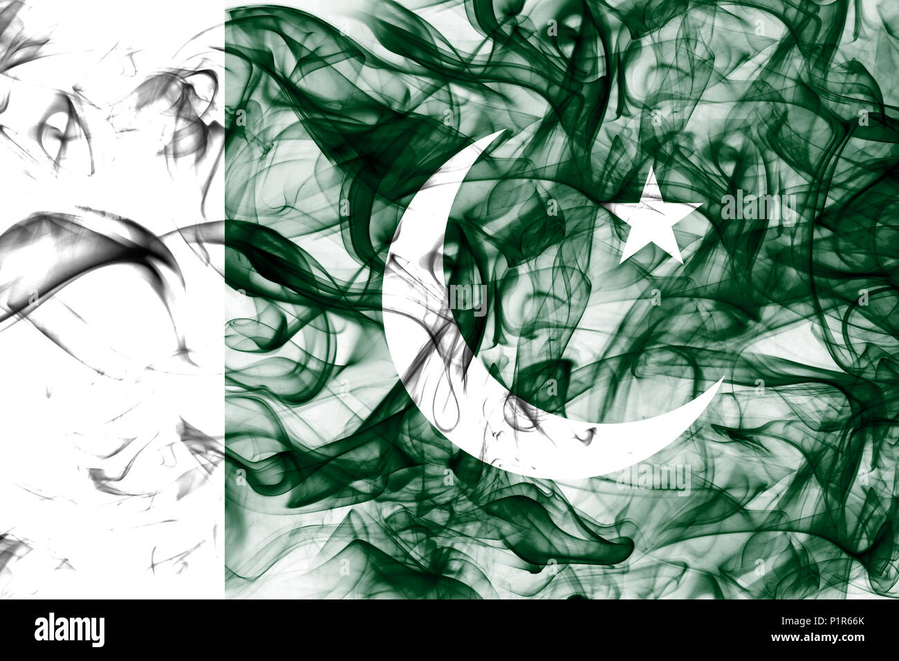 Pakistan smoke flag - Stock Image