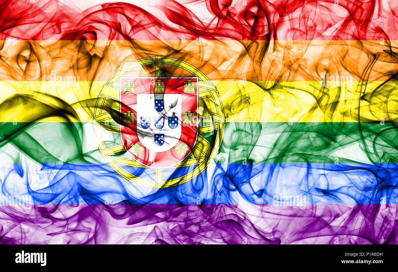 Portugal gay smoke flag, LGBT Portugal flag Stock Photo