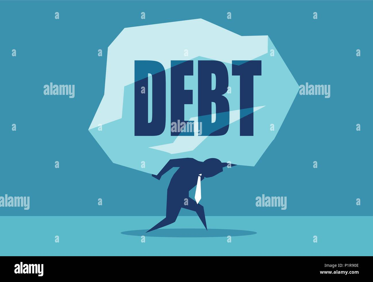 Concept vector picture of man under heavy rock of Debt. - Stock Vector