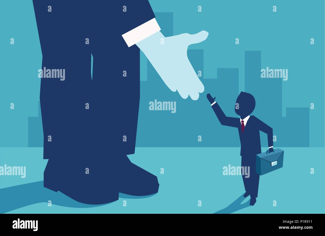 Vector picture of small businessman supported by unknown investor giving him opportunity. - Stock Vector