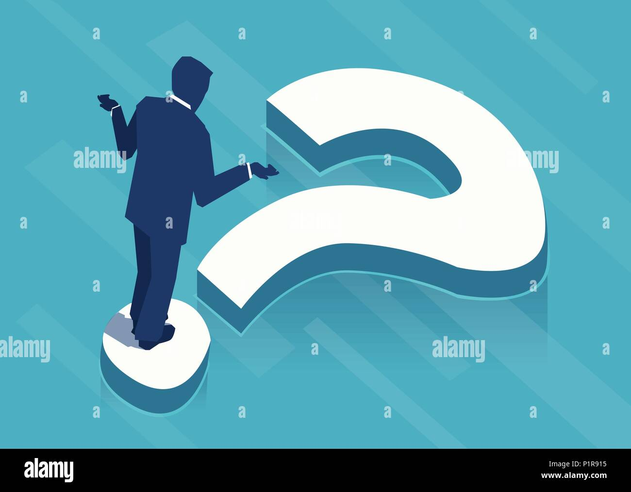 Vector illustration of businessman standing on question mark in perplexion. - Stock Image